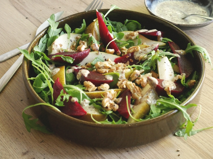 earthy beetroot & pear salad with mustard dressing