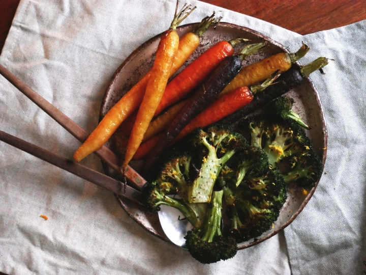 maple glazed carrots & crispy lemon broccoli