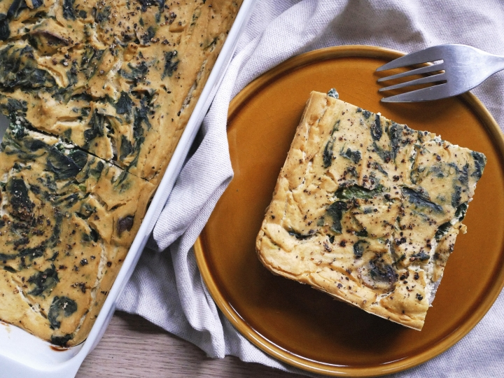 spinach & mushroom veganfrittata